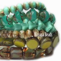 MIX Loose Strands -Czech Glass - Greens