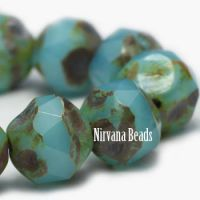 8mm Baroque Beads Medium Sky Blue with Picasso Finish