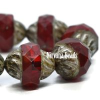 10x11mm Turbine Ruby Red with Picasso Finish