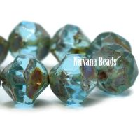 8mm Baroque Beads Sky Blue with Picasso Finish