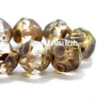 8mm Baroque Beads Transparent Glass with Picasso Finish