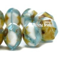 6x8mm Rondelle Sky Blue and White with Picasso Finish