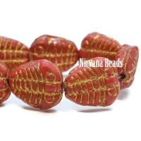 10x13mm Trilobite Scarlet Red with a Gold Wash