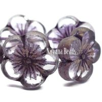 21mm Hibiscus Flower Transparent Glass with Purple and Bronze Washes