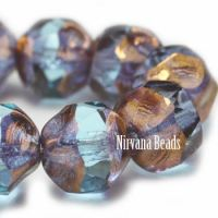 8mm Baroque Beads Pale Blue with Copper Finish