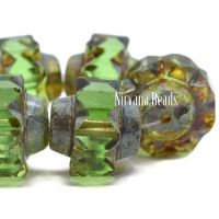 13x15mm Crown Peridot with a Picasso Finish