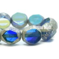 8mm Table Cut Faceted Round Sapphire and Sky Blue with An AB and Antique Silver Finish
