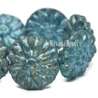 14mm Dahlia Baby Blue with a Silver Rainbow Shimmer and An Etched Finish
