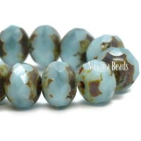 5x7mm Rondelle Sky Blue with Picasso Finish