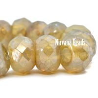 8x12mm Large Hole Roller Bead Champagne with Picasso Finish.