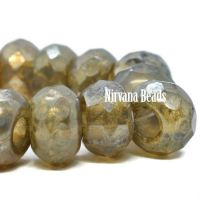 8x12mm Large Hole Roller Bead Champagne with a Silver Picasso Finish