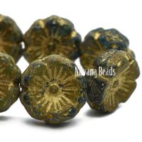 12mm Hibiscus Flower Sapphire and Sky Blue with Etched, Picasso, and Gold Finishes