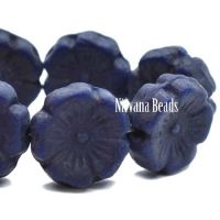 12mm Hibiscus Flower Indigo with a Purple Wash and An Etched Finish