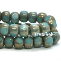 4x3mm Trica Teal Blue with Bronze Finish