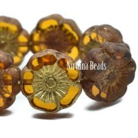 12mm Hibiscus Flower Pumpkin with a Picasso Finish and Gold Wash