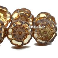 12mm Hibiscus Flower Pale Brown with Etched, Bronze and Gold Finishes