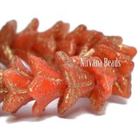 5x8mm Bell Flowers Orange with a Gold Wash and Etched Finish