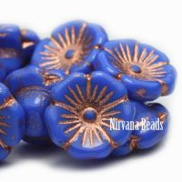 12mm Button Flower Electric Indigo with a Copper Wash