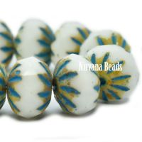 7x10mm Cruller White with a Picasso and Turquoise Wash