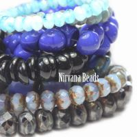 MIX Loose Strands - Czech Glass - Blue, Black, Silver