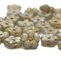 5mm Forget-Me-Not Spacers Grey with Etched and Silver Finishes and a Gold Wash.