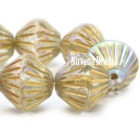 11mm Tribal Bicone Transparent Glass with a Gold Wash and An AB Finish