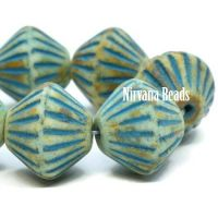 11mm Tribal Bicone Honey with a Picasso Finish and a Turquoise Wash