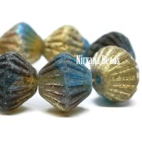 11mm Tribal Bicone Teal, Green, and Yellow with a Gold Luster and An Etched Finish