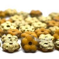 5mm Forget-Me-Not Spacers Yellow Gold with a Etched and Gold Finishes