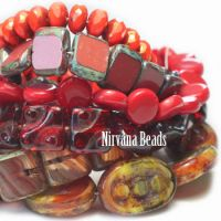 MIX Loose Strands - Czech Glass - Red, Orange