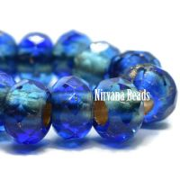 6x9mm Large Hole Roller Bead Sapphire and Sky Blue with Gold Lining
