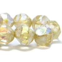 9mm Baroque Bicone Yellow Ivory with An Antique Silver and AB Finish