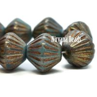 11mm Tribal Bicone Blue Green with a Gold Finish and Bonze Wash
