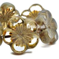 22mm Hibiscus Flower Transparent Glass with Gold Wash and Picasso Finish