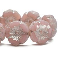 12mm Hibiscus Flower Dusty Rose with a Silver Metallic and Etched Finish