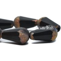 15x8mm Faceted Dangle Drop Black with Copper and Etched Finishes