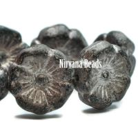 12mm Hibiscus Flower Black with Bronze and Etched Finish