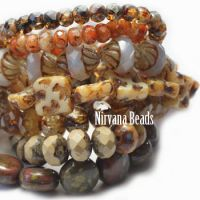 MIX Loose Strands - Czech Glass - Brown, White, Yellow, Beige