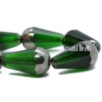 15x8mm Faceted Dangle Drop Green with a Silver Finish