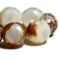 12mm Table Cut Faceted Round White with a Brown and Mercury Finish