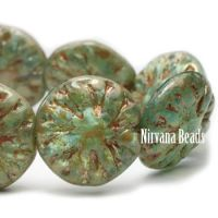 14mm Dahlia Sea Green with Picasso Finish and Coral Wash