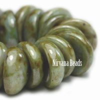 4x8mm Piggy Bead Sage with Picasso Finish