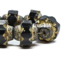 13x15mm Crown Black with a Picasso, Gold, and Etched Finish