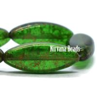 18x7 mm Spindle Green with a Gold Finish