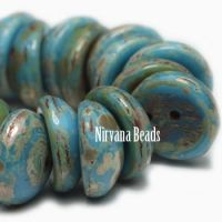 8mm Piggy Bead Pacific Blue with Picasso Finish
