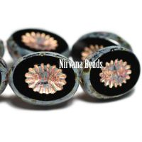 12x14mm Kiwi Black with Picasso Finish and a Copper and Red Wash