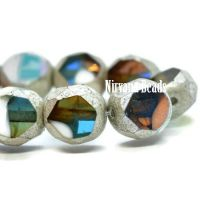 8mm Table Cut Faceted Round Teal, Olive and White with An AB and Antique Silver Finish