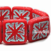 14mm Compass Square Beads Scarlet Red with a Pale Turquoise Wash