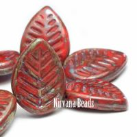 12x16mm Dogwood Leaves Scarlet Red with Picasso Finish