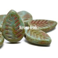 12x16mm Dogwood Leaves Tea Green with Picasso Finish